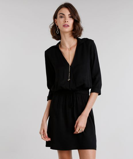 Vestido-Feminino-Chemise-Curto-Decote-V-Preto-9081178-Preto_1
