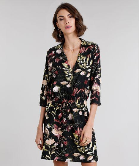 e6b563644 Vestido Feminino Chemise Estampado Floral Curto Decote V Preto - cea