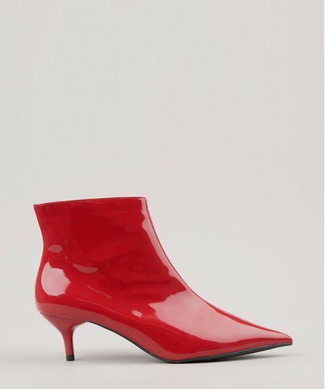 ba9dc5a1946 Bota Feminina em Verniz Bico Fino Kitten Heel Vermelha - cea