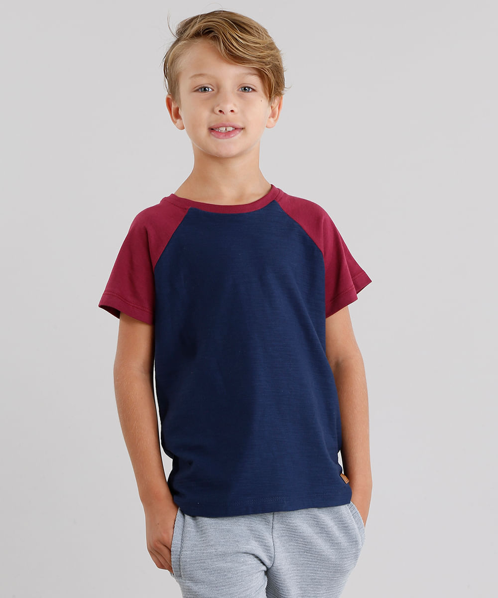 7a9dae2b4b4d1 Camiseta Infantil Raglan Básica Maga Curta Gola Redonda Azul Marinho ...