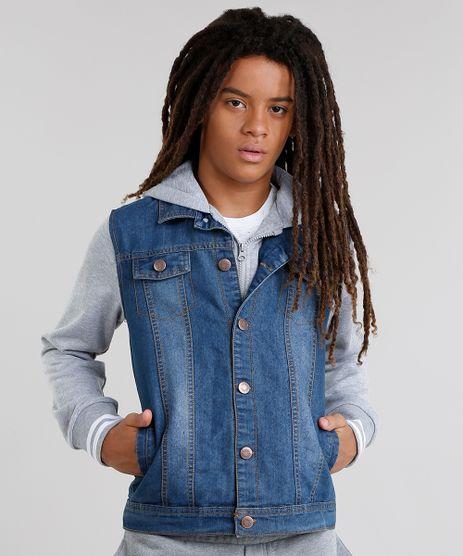 Jaqueta-Jeans-Infantil-com-Moletom-Sobreposicao-com-Capuz-Azul-Escuro-8872320-Azul_Escuro_1