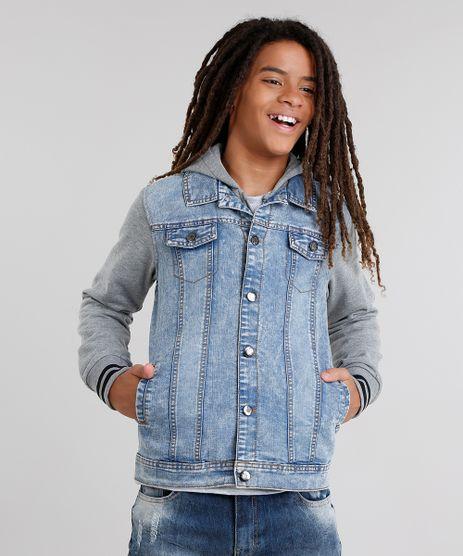 Jaqueta-Jeans-Infantil-com-Moletom-Sobreposicao-com-Capuz-Azul-Claro-8872320-Azul_Claro_1