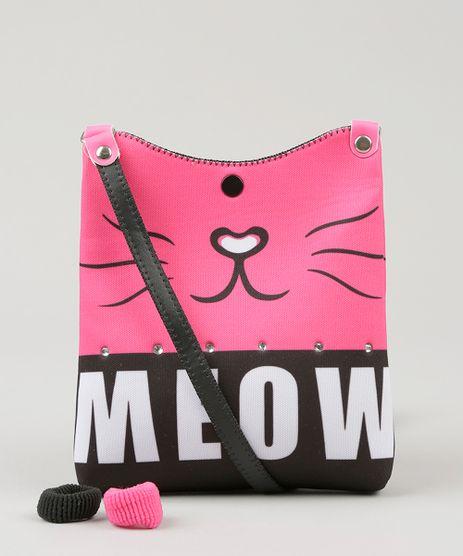 Bolsa-Infantil-Gato--Meow--com-Strass---Elasticos-de-Cabelo-Preta-9060651-Preto_1