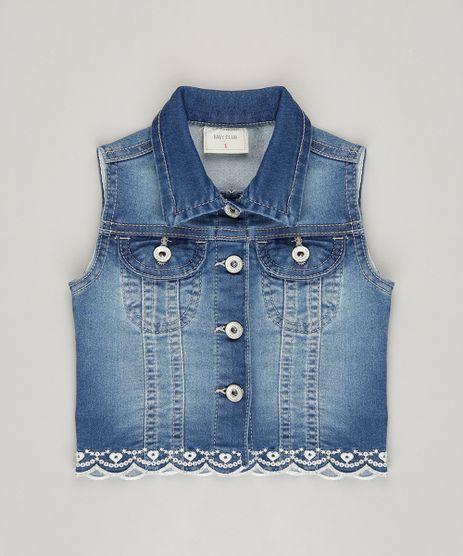 Colete-Jeans-Infantil-com-Bordado-em-Algodao---Sustentavel-Azul-Medio-9071168-Azul_Medio_1