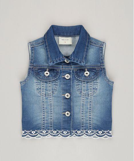 Colete-Jeans-Infantil-com-Bordado-em-Algodao--- ... 6aac7a7d7cc