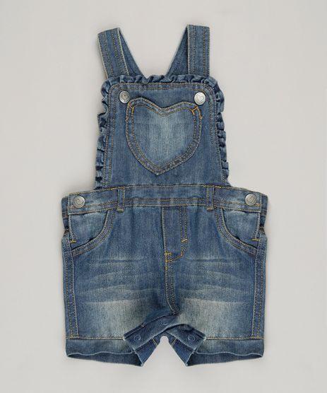 Jardineira-Jeans-Infantil-em-Algodao---Sustentavel-Azul-Medio-8915335-Azul_Medio_1