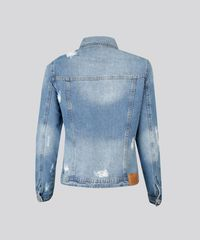 785f514614 Jaqueta Jeans Feminina Destroyed com Estampa Manga Longa Azul Médio ...