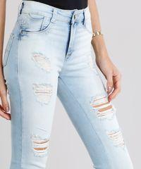 87bfb4c26 Calça Jeans Feminina Sawary Super Skinny Push Up Destroyed Azul ...