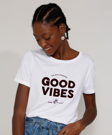Camiseta-Feminina-Longa-Manga-Curta--Good-Vibes--Flocada-Decote-Redondo-Branca-9976661-Branco_1