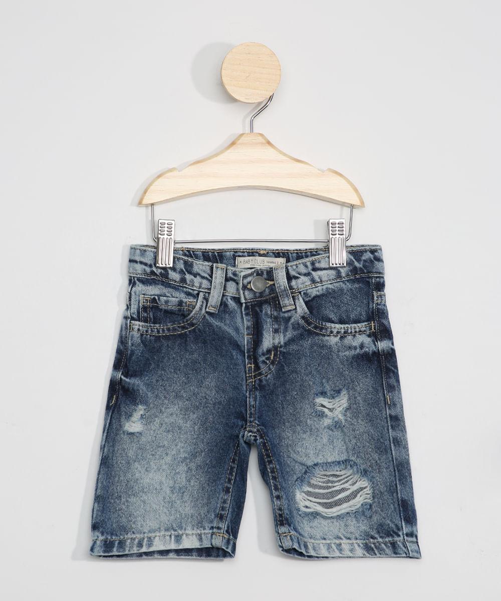 Bermuda Jeans Infantil Reta Destroyed Azul Médio