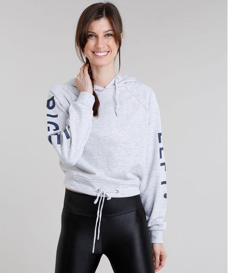 288ba3327 Blusão Feminino Esportivo Ace em Moletom Manga Longa com Capuz Cinza ...