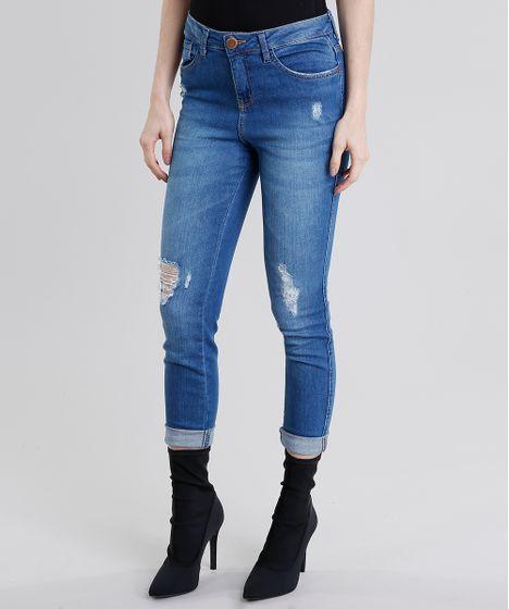 435681398 Calça Jeans Feminina Cigarrete Destroyed Cintura Alta Azul Médio - cea