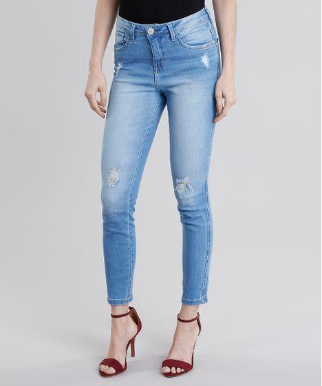 54bc25c00 Calça Jeans Feminina Cigarrete Destroyed Cintura Alta Azul Claro - cea