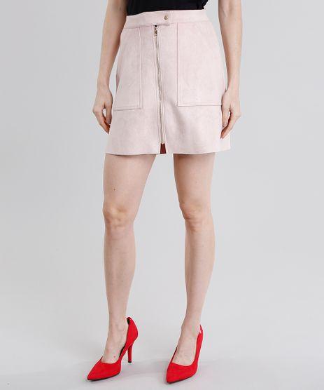 Saia-Feminina-Evase-em-Suede-Curta-com-Ziper-Rose-8897440-Rose_1