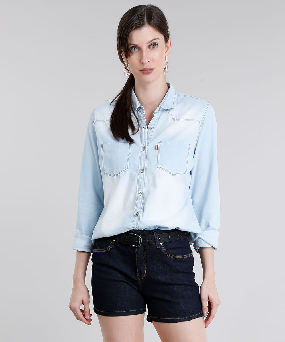 8e6f4f99aa Camisa Jeans Feminina Manga Longa Azul Claro - ceacollections