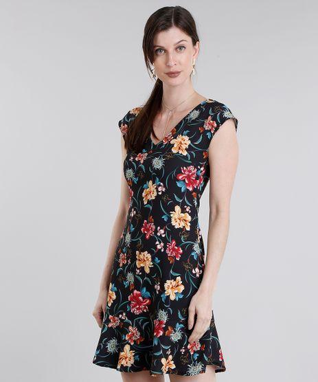 Vestido-Feminino-Estampado-Floral-Curto-Decote-V-com-Babado-Preto-9022343-Preto_1
