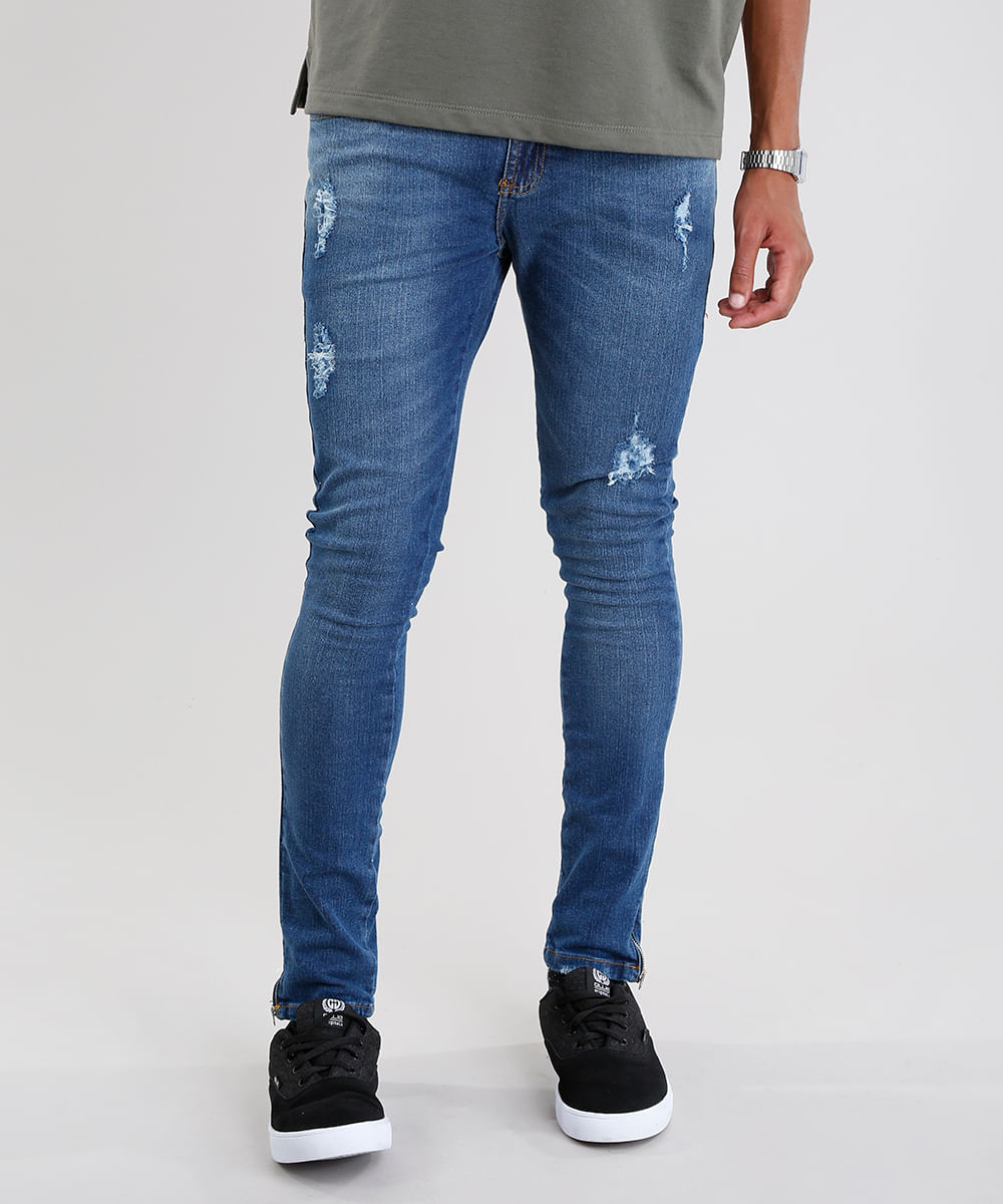 558e9a213648d8 Calça Jeans Masculina Super Skinny Destroyed Eco Recycle com Zíper ...