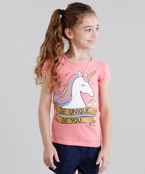 Blusa-Infantil--Unicornio--Manga-Curta-Decote-Redondo-em-Algodao---Sustentavel-Rosa-9107643-Rosa_1