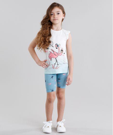 Conjunto Infantil de Regata Flamingo com Babado Off White + Bermuda ... 01398894c3b91