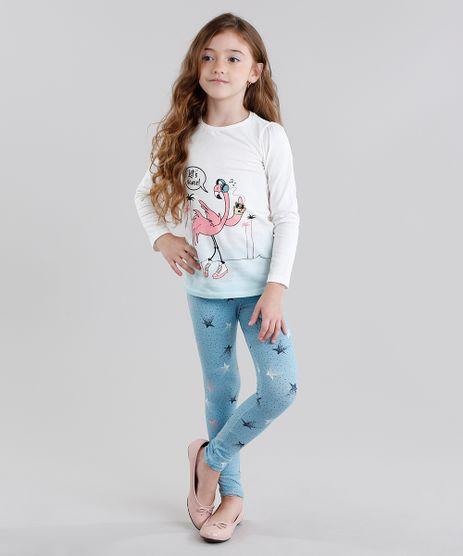 Conjunto-Infantil-de-Blusa-Flamingo-Manga-Longa-Off-White---Calca-Legging-Estampada-em-Algodao---Sustentavel-Azul-9048462-Azul_1