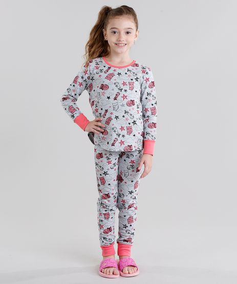 Pijama-Infantil-Estampado-de-Raposas-Manga-Longa-Gola-Redonda-Cinza-Mescla-9045401-Cinza_Mescla_1