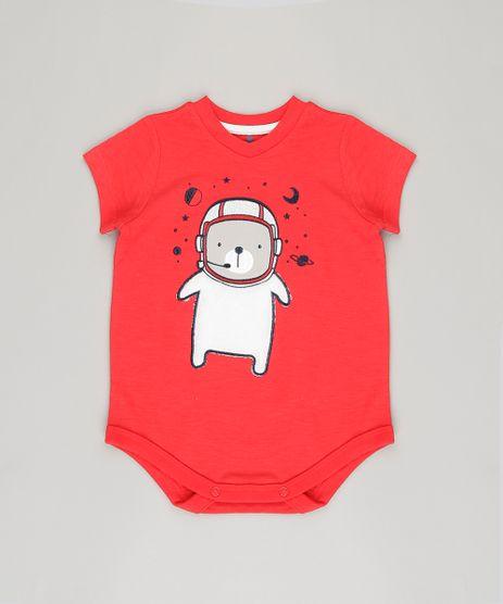 Body-Infantil--Urso-Astronauta--Manga-Curta-Gola-Careca-em-Algodao---Sustentavel-Vermelho-8878415-Vermelho_1