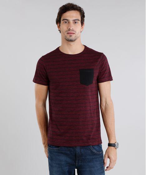 a7b28092c0 Camiseta Masculina Mescla Listrada Manga Curta Gola Careca Vinho - cea