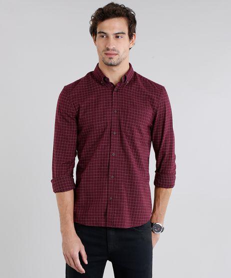 Camisa-Masculina-Comfort-Xadrez-em-Flanela-Manga-Longa-Vinho-8841835-Vinho_1