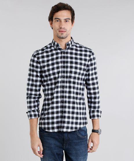 Camisa-Masculina-Comfort-Xadrez-em-Flanela-Manga-Longa-Azul-Marinho-8841897-Azul_Marinho_1