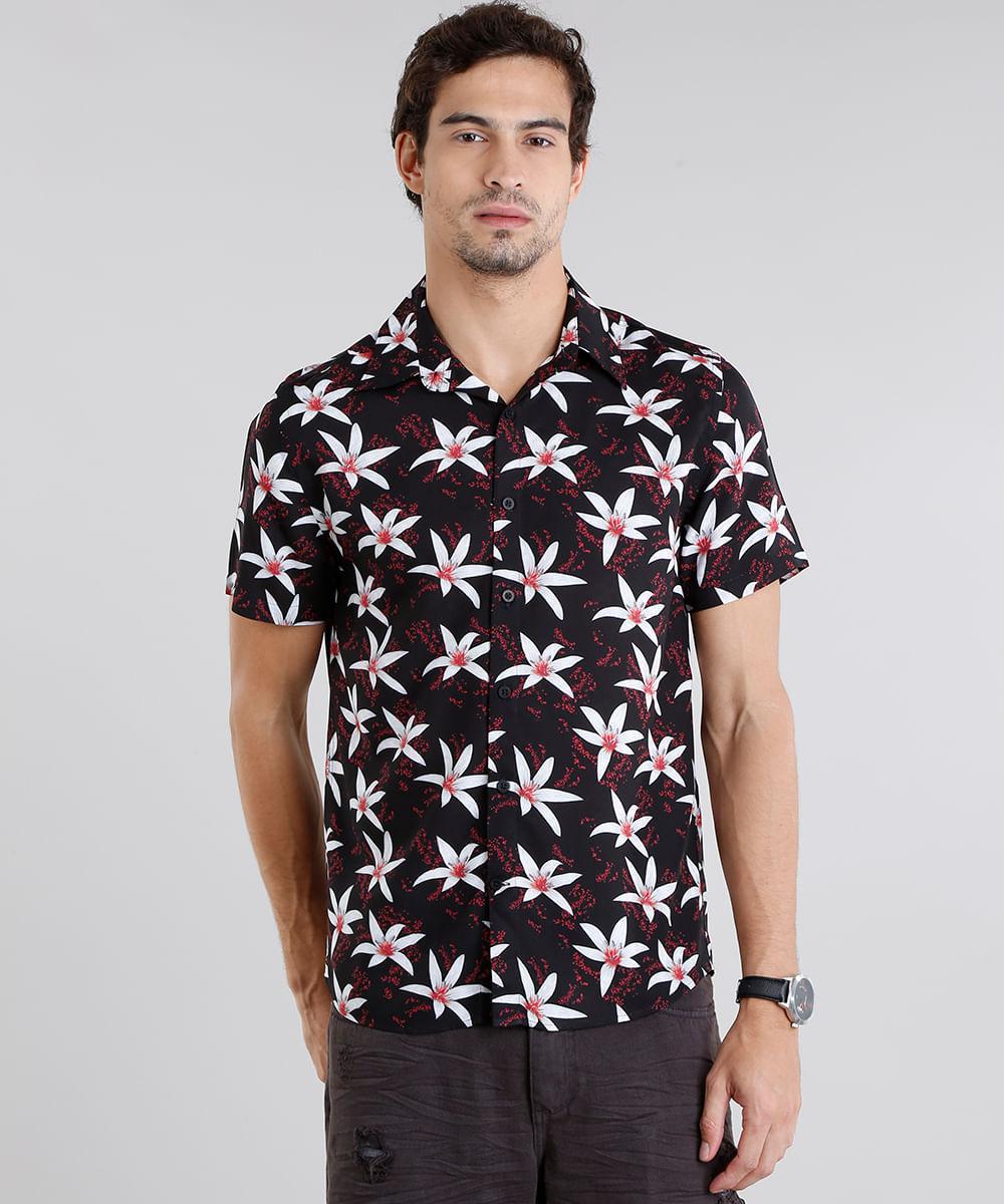 ... Camisa-Masculina-Estampada-Floral-Manga-Curta-Preta-9084509- 05293d38b9372