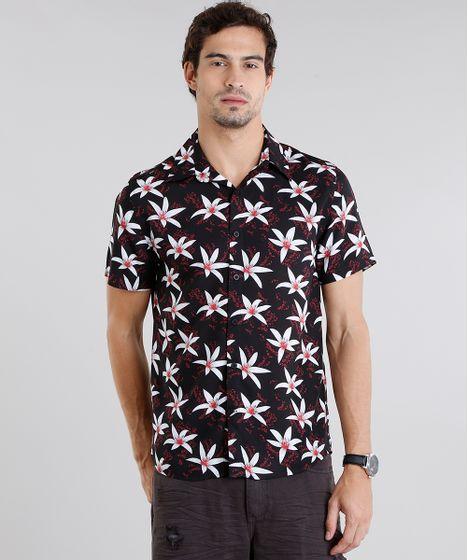 31b44e4c1 Camisa-Masculina-Estampada-Floral-Manga-Curta-Preta-9084509- ...