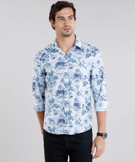 Camisa-Masculina-Comfort-Estampada-Floral-Manga-Longa-Azul-9108103-Azul_1