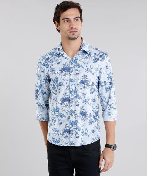 39a496e1c7 Camisa Masculina Comfort Estampada Floral Manga Longa Azul - cea