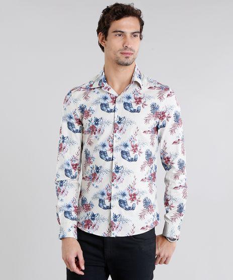 Camisa-Masculina-Slim-Estampada-Floral-Manga-Longa-Bege-Claro-9108110-Bege_Claro_1