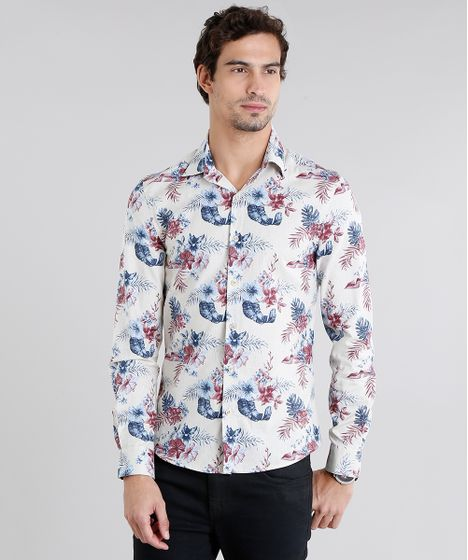 964441ca1 Camisa Masculina Slim Estampada Floral Manga Longa Bege Claro - cea