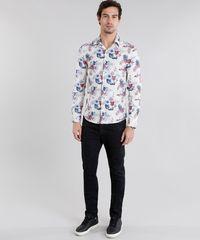 f159993c5 Camisa Masculina Slim Estampada Floral Manga Longa Bege Claro ...