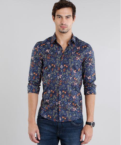 7e983a53c Camisa Masculina Slim Estampada Floral Manga Longa Azul Marinho - cea