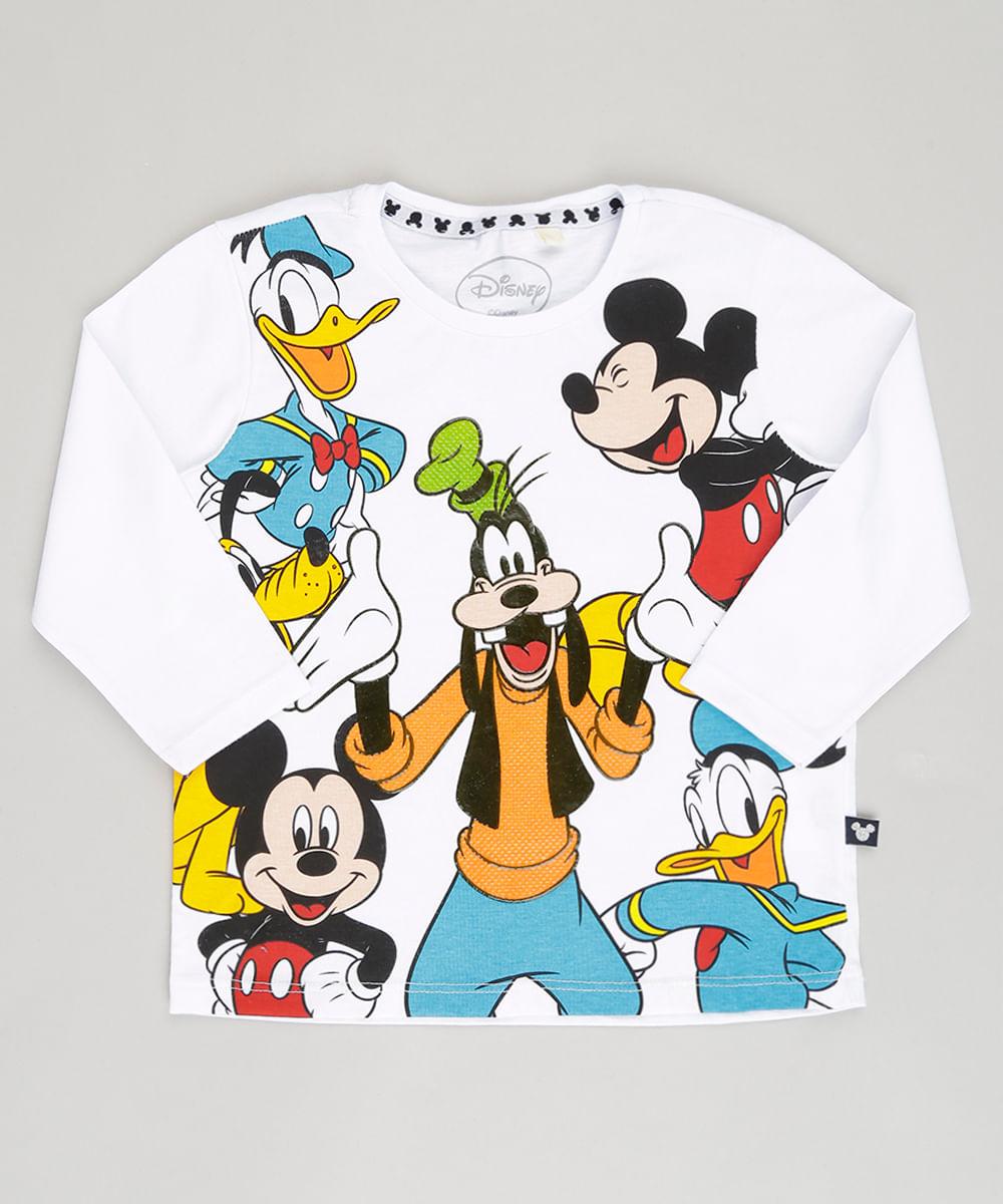 3ece7132d Camiseta Infantil Turma do Mickey Manga Longa Gola Careca em Algodão ...
