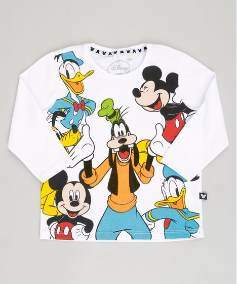 1a6beb5292 Camiseta Infantil Turma do Mickey Manga Longa Gola Careca em Algodão ...