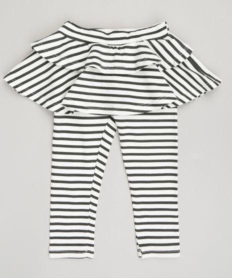 Calca-Legging-Infantil-com-Saia-Listrada-em-Algodao---Sustentavel-Off-White-9048399-Off_White_1