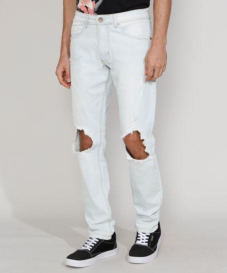 Calca-Jeans-Masculina-Slim-com-Rasgo-no-Joelho-e-Puidos-Azul-Claro-9964002-Azul_Claro_1