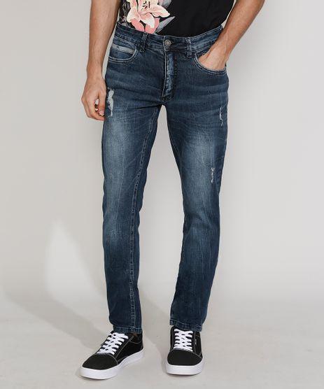 Calca-Jeans-Masculina-Slim-com-Puidos-Azul-Escuro-9967893-Azul_Escuro_1