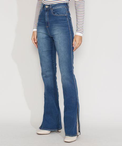 Calca-Jeans-Feminina-Cintura-Alta-Flare-com-Fenda-Azul-Medio-9982430-Azul_Medio_1