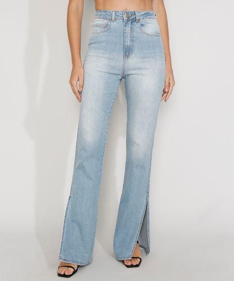 Calca-Jeans-Feminina-Cintura-Alta-Flare-com-Fenda-Azul-Claro-9982429-Azul_Claro_1
