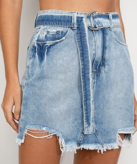 Saia-Jeans-Feminina-Curta-Reta-com-Cinto-Barra-Destroyed-Azul-Claro-9982491-Azul_Claro_1