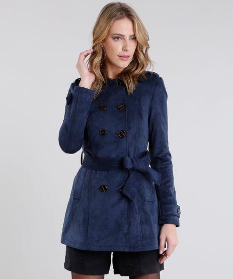 Casaco-Feminino-Trench-Coat-em-Suede-Azul-Marinho-8888639-Azul_Marinho_1