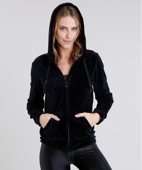 c033f00d3 Blusão Feminino Esportivo Ace em Plush com Capuz Manga Longa Preto - cea