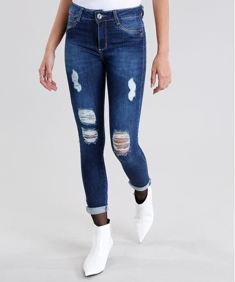 81a18d9536 Calça Jeans Feminina Sawary Super Skinny Destroyed Azul Médio - cea