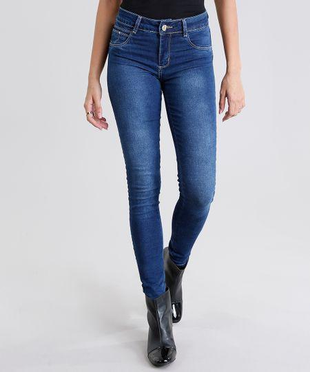 bef110eb1 Calça Jeans Feminina Super Skinny Sawary Modela Bumbum Azul Escuro -  ceacollections
