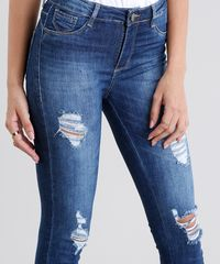 7cdba26f68 Calça Jeans Feminina Sawary Super Skinny Push Up Destroyed Azul ...